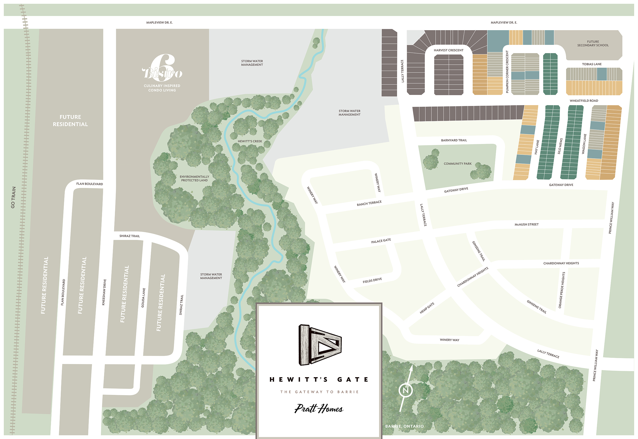 hewitt's gate map in barrie ontario from pratt homes